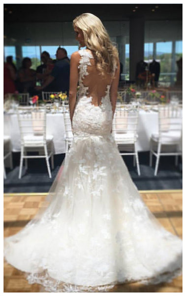 See Through Back Lace High Quality Mermaid Wedding Dresses Bridal Dress Wedding Gowns LD673