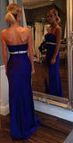 Empire Waist Sweetheart Royal Blue Slit Long Prom Dresses Evening Gowns Party Dress LD675