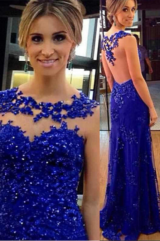 Royal Blue Lace See Through Back Sheath Prom Dresses Evening Dress Party Gown LD676