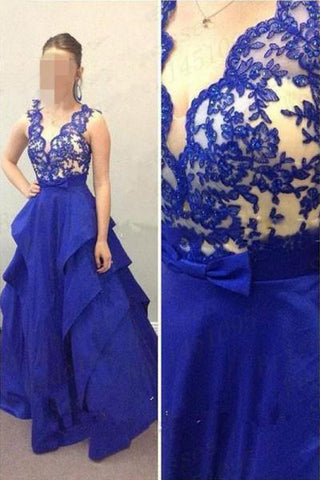 Royal Blue V Neck Lace Tiered Skirt Bow Prom Dresses Evening Dress Party Gowns LD678