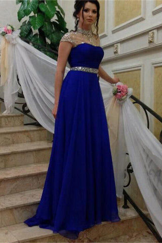 High Neck Cap Sleeves Royal Blue Crystals Prom Dresses Evening Dress Party Gowns LD679