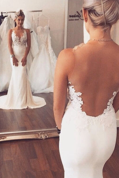 Sexy Top See Through Ivory Mermaid Wedding Dresses Bridal Dress Wedding Gown LD680