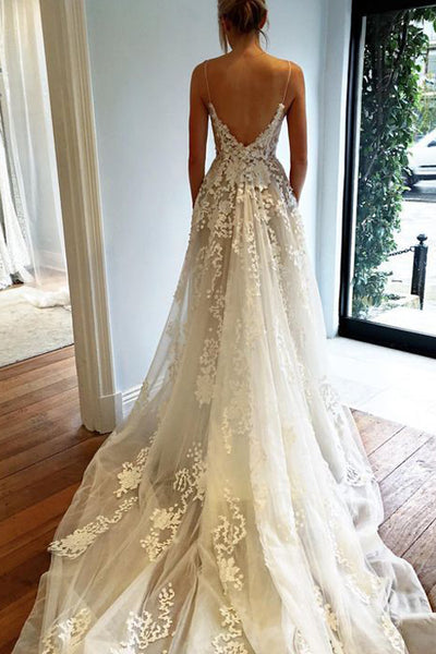 V Neck Spaghetti Straps Backless Chapel Train Wedding Dresses Bridal Dress Wedding Gown LD682