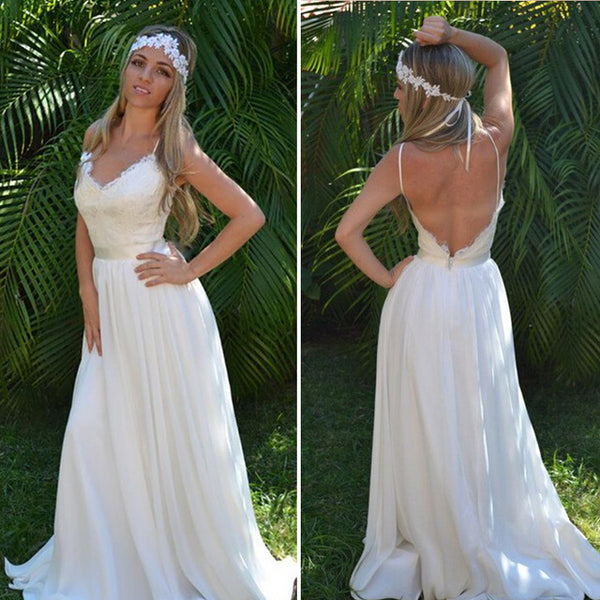 Open Back Lace Spaghetti Straps Beach Wedding Dress Bridal Dresses Wedding Gown LD684