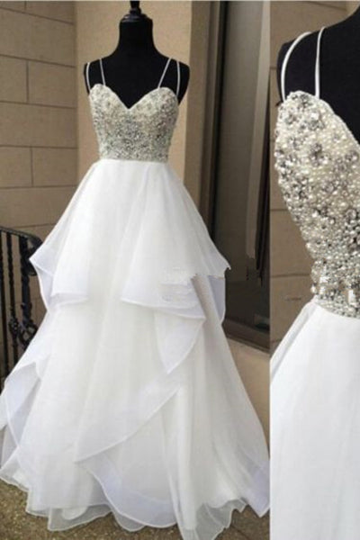 Sweetheart Pearls Crystals Tiered A Line White Wedding Dresses Bridal Wedding Gown LD686
