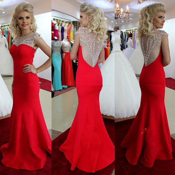 Red Satin See Through Beads Mermaid Long Prom Dress Evening Gown Party Dresses LD690