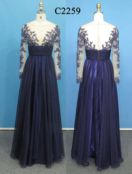 Dark Blue Long Sleeves Appliques Prom Dresses Evening Mother of Bridal Dress Party Gown LD693