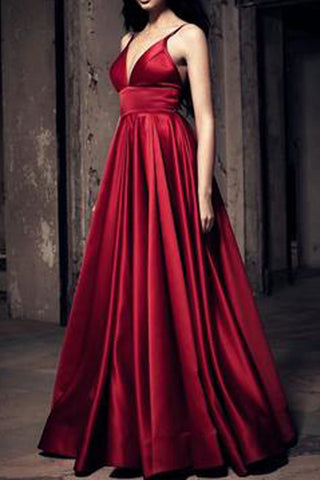 Empire Waist V Neck Burgundy Straps Long Prom Dress Evening Party Gown Graduation Dress LD696