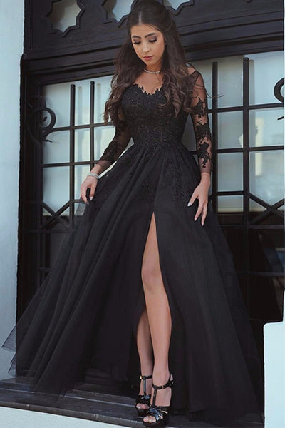 Charming Black Lace Tulle Long Sleeves Slit Prom Dress Evening Dresses Party Gowns LD697
