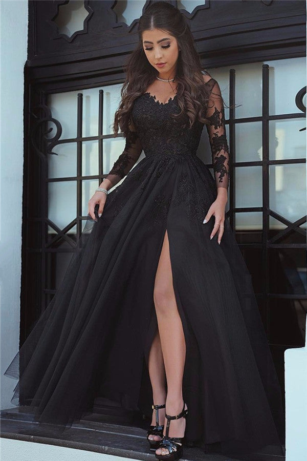 Black Lace Tulle Long Sleeves Prom Dress Evening Dresses
