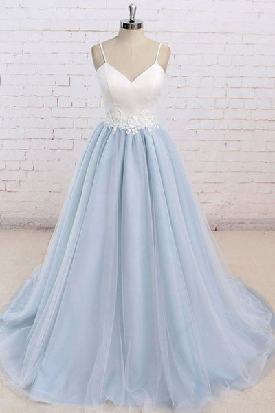 Spaghetti Straps Light Blue White Tulle Appliques Prom Dresses Evening Dress Party Gowns LD698