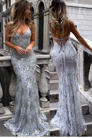 Mermaid Backless Silver Sequin Baby Blue Lace Prom Dress Evening Dresses Party Gowns LD700