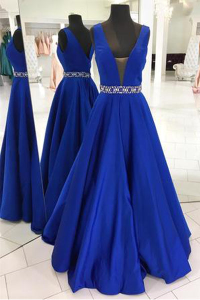 Off the Shoulder V Neck Royal Blue Beads Belt A Line Prom Dresses Evening Gown Party Dress LD702