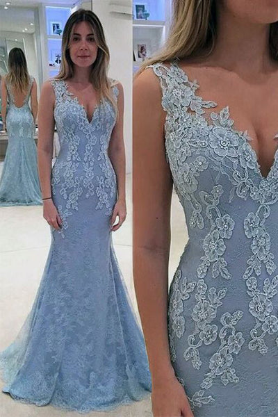 Open Back V Neck Light Blue Lace Mermaid Prom Dresses Evening Gown Party Dress LD703