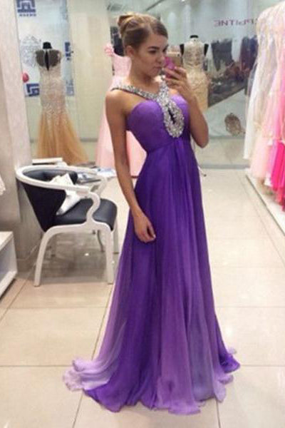 Ombre Purple Chiffon Off the Shoulder Long Prom Dresses Evening Gowns Graduation Dress LD704