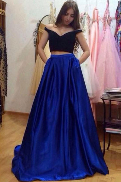Elegant Two Pieces Black Royal Blue Prom Dresses Evening Gown Party Dress With Pocket LD705