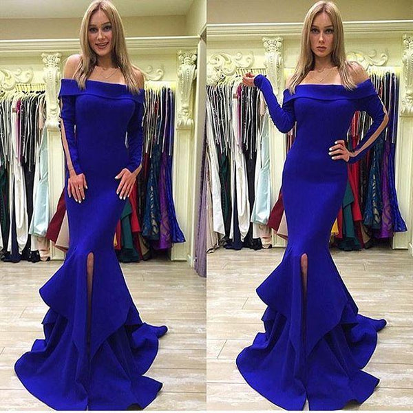 Sexy Long Sleeves Mermaid Royal Blue Slit Prom Dress Evening Gowns Party Dresses LD706
