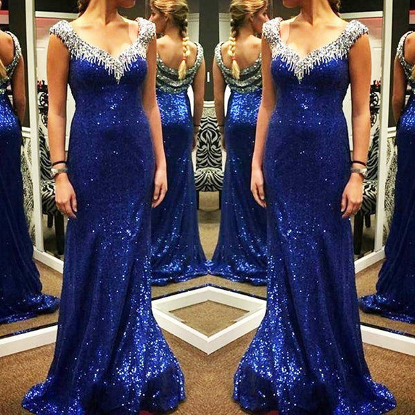 Shiny Royal Blue Sequin Mermaid Beaded Prom Dresses Evening Dress Party Gowns LD707