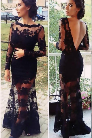 Hot Sales Black Lace Long Sleeves Mermaid Backless Prom Dresses Evening Party Dress LD708