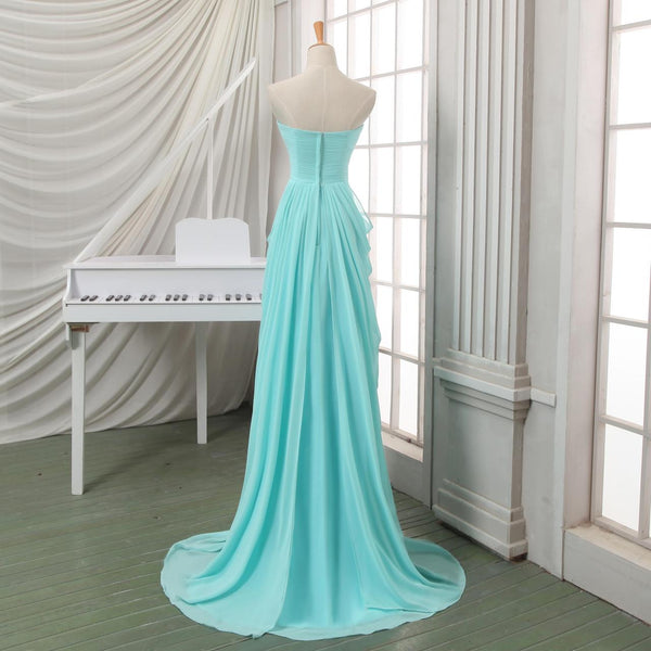 Fashion Turquoise Chiffon Tiered Swwetheart Long Prom Dress Evening Gown Party Dresses LD709