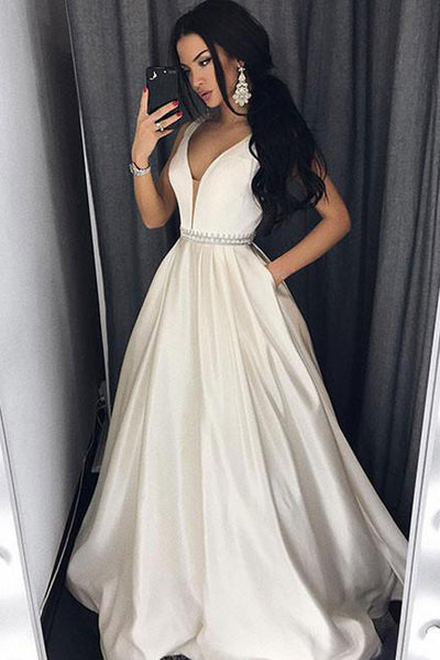 V Neck Off the Shoulder Elegant Cheap Prom Dresses Evening Dress Party Gowns With Pocket LD710