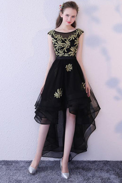New 2018 Gold Lace Black Tulle Front Short Long Back Prom Dress Evening Dresses Party Gown LD712