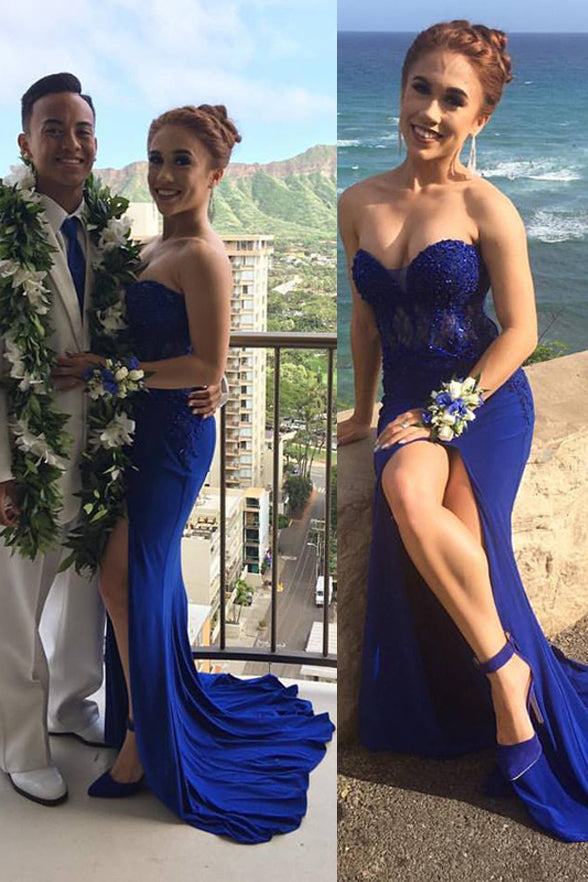 Mermaid Prom Dress Royal Blue Sweetheart Slit Lace Prom Evening Dresses Party Gowns LD715