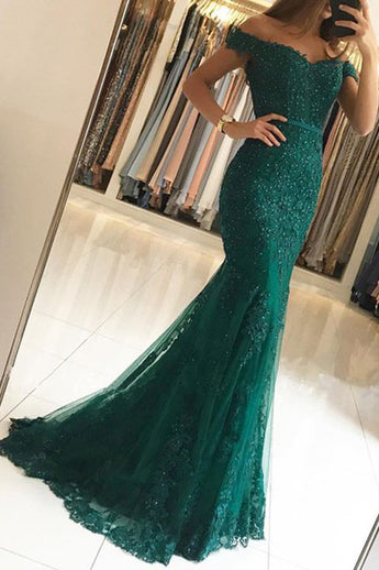 Off the Shoulder Green Lace Mermaid Beads Prom Dresses Party Gown Evening Dress LD717