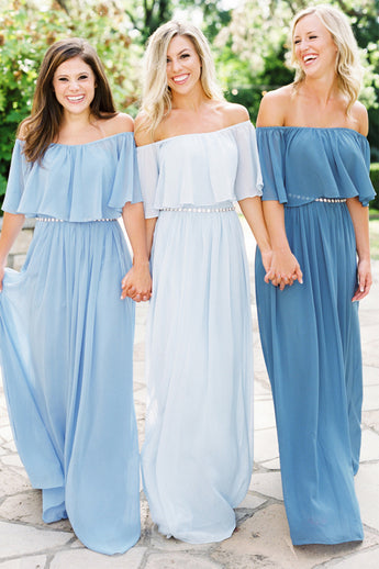 New Arrival Off the Shoulder Light Blue Long Bridesmaid Dress Prom Dresses Party Gowns LD719