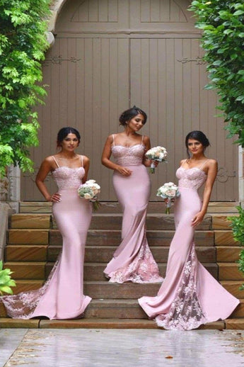 Hot Sales Pink Spaghetti Straps Mermaid Lace Long Bridesmaid Dresses Prom Dress Party Gown LD720