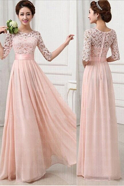 Half Sleeves Pink Lace Chiffon A Line Cheap Bridesmaid Dresses Prom Dress Party Gowns LD721
