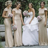 Cap Sleeves Sequin Mermaid Open Back Shiny Bridesmaid Dress Prom Dresses Party Gowns LD723