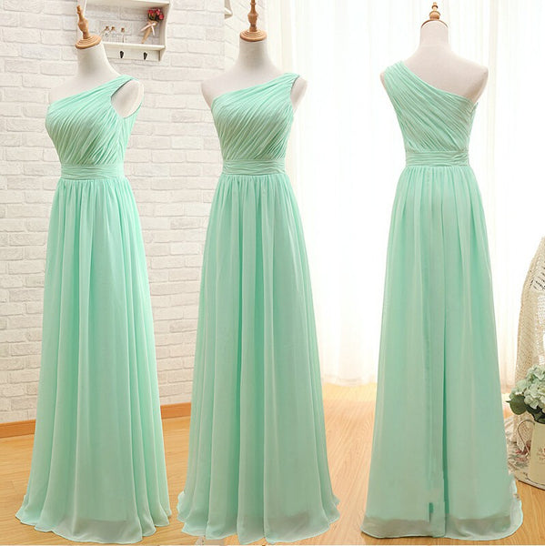 One Shoulder A Line Mint Long Cheap Bridesmaid Dress Prom Dresses Bridesmaid Gowns LD726
