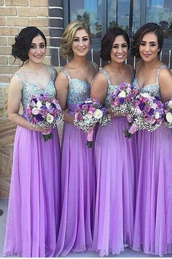 Hot Sales Straps A Line Beaded Lilac Long Bridesmaid Dresses Prom Dress Party Gowns LD728