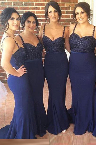 Navy Blue Lace Spaghetti Straps Mermaid Bridesmaid Dresses Prom Dress Bridesmaid Gown LD729