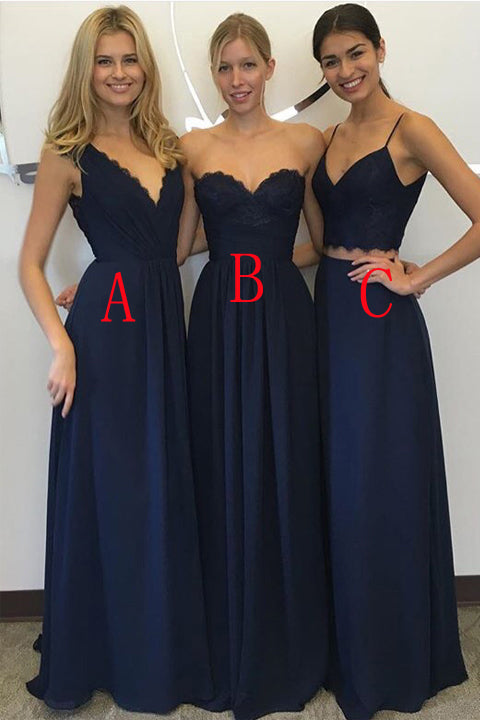 Hot Sales Navy Blue Lace Chiffon Long Fashion Long Bridesmaid Dresses Evening Prom Dress LD731
