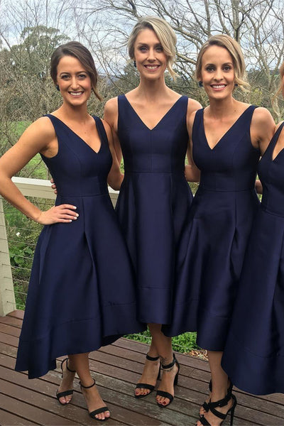 Navy Blue Satin Bridesmaid Dress V Neck Elegant Hi-Lo Bridesmaid Dresses Prom Party Gown LD732