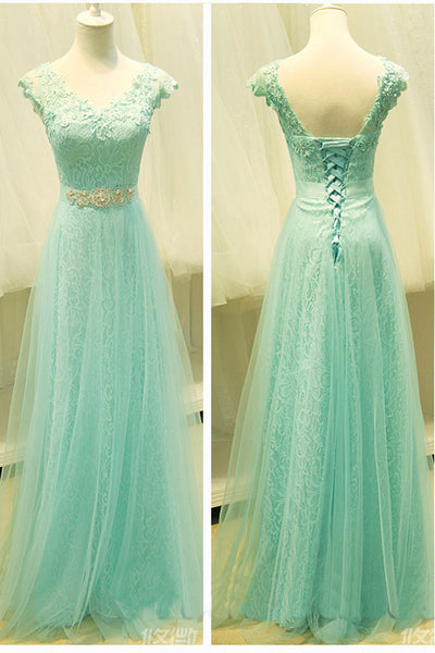 New 2018 Mint Lace Tulle V Neck Crystal Belt Bridesmaid Dress Prom Dresses Party Gowns LD735