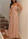 Empire Waist Sweetheart Blush Pink Lace Pregnant Bridesmaid Dresses Prom Dress Party Gown LD737