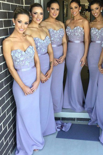 Mermaid Sweetheart Lavender Hand Flowers Bridesmaid Dresses Prom Dress Party Gown LD738