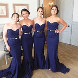 Sweetheart Navy Blue Mermaid Bridesmaid Dresses Prom Dress Bridesmaid Gown With Gold Belt LD739