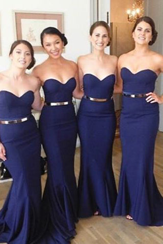 95154b8cd51 Navy Blue Mermaid Bridesmaid Dresses Bridesmaid Dress With Gold Belt –  Laurafashionshop