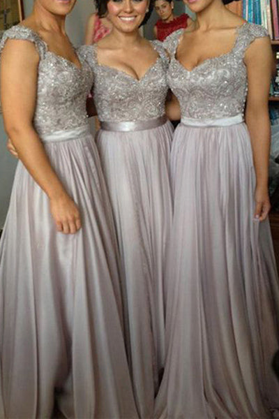 Hot Sales Silver Lace Cap Sleeves Bridesmaid Dresses Prom Dress Bridesmaid Gown LD740