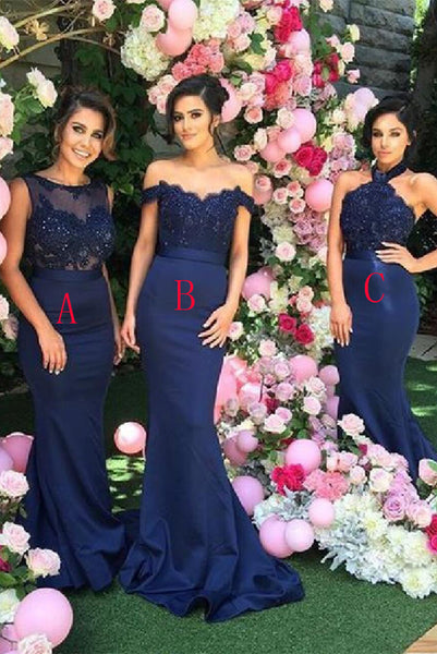 Hot Sales Mermaid Navy Blue Lace Cheap Bridesmaid Dresses Bridesmaid Gown Prom Dress LD741