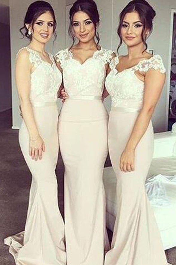 Mermaid Bridesmaid Dress Long Bridesmaid Dresses Cap Sleeves White Lace Bridesmaid Gown LD743