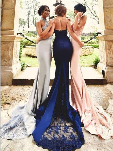 Top Selling Mermaid Pink Lace Cheap Bridesmaid Dresses Halter Pink Bridesmaid Dress Prom LD745