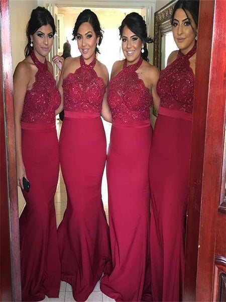 Burgundy Lace Mermaid Bridesmaid Dresses Halter Long Bridesmaid Dress Prom Gowns LD746