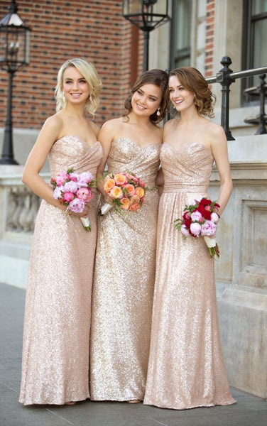 Hot Sales Rose Gold Sequin Bridesmaid Dresses Sweetheart Long Bridesmaid Dress Prom LD748