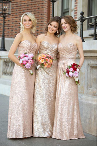 96395c219f Rose Gold Sequin Bridesmaid Dresses Sweetheart Long Bridesmaid Dress –  Laurafashionshop