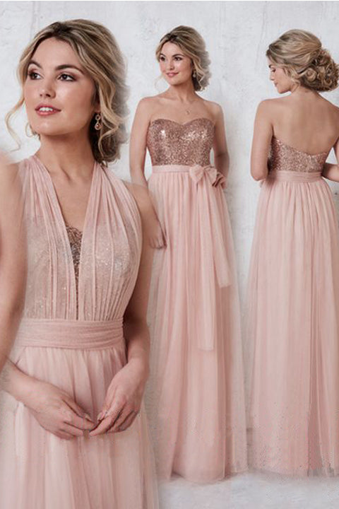2018 Blush Pink Bridesmaid Dresses,Rose Sequin Empire Waist Bridesmaid Dress Prom Dress LD750